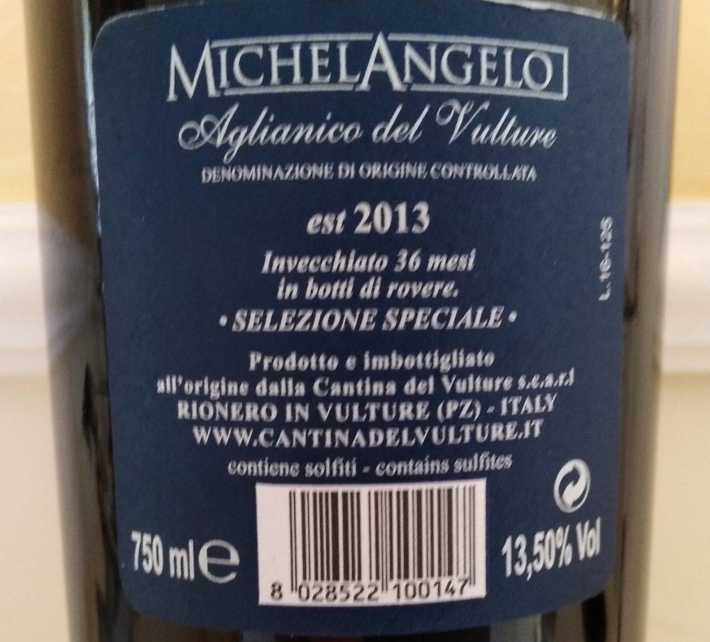 Controetichetta Michelangelo Aglianico del Vulture Doc 2013 Cantina del Vulture