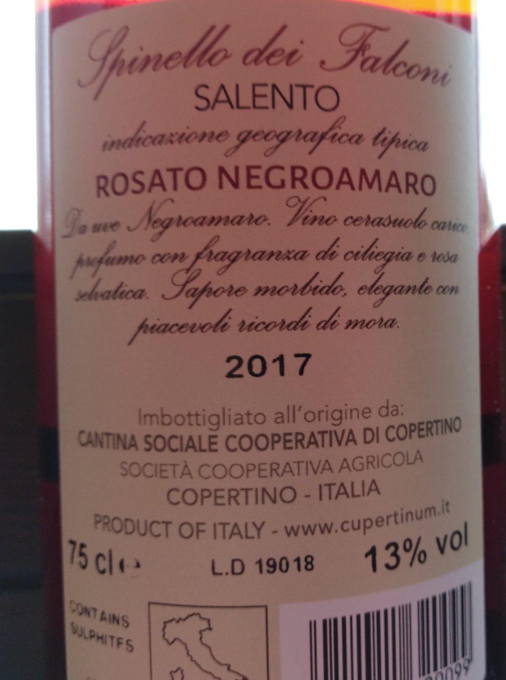 Controetichetta Spinello dei Falconi Rosato Negroamaro Salento Igt 2017 - Cupertinum