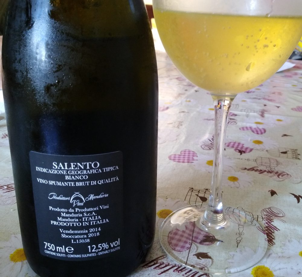 Controetichetta Spumante Leggiadro Spumante Bianco Metodo Classico Brut 2014 Produttori di Manduria