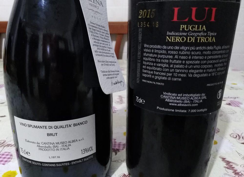 Controetichette vini di Cantine Albea