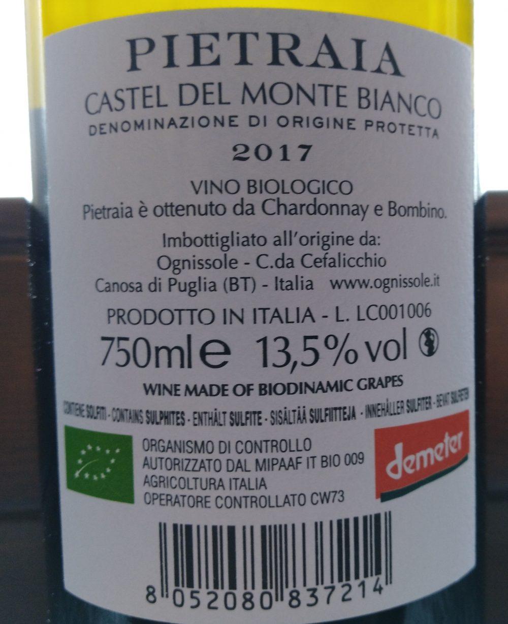 Controetichettta Pietraia Bianco Castel del Monte Dop 2017 - Ognissole