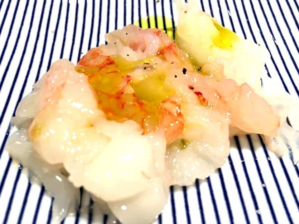 Japaj Sushi - Carpaccio di Spigola & Gambero Rosso con Olio E.V.O