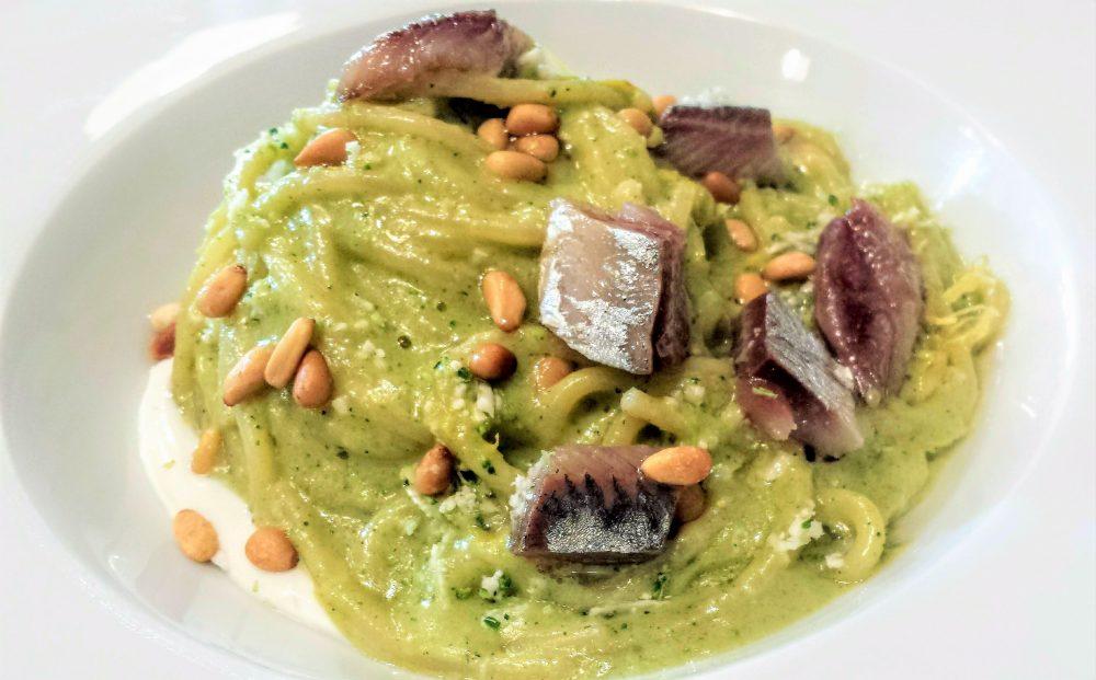 O. Brunello, Spaghetto Felicetti, sarde affumicate, pesto di broccoli
