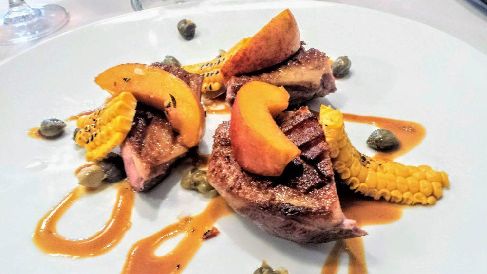 O.Brunello, Petto d'anatra rosa, pesche marinate al Campari