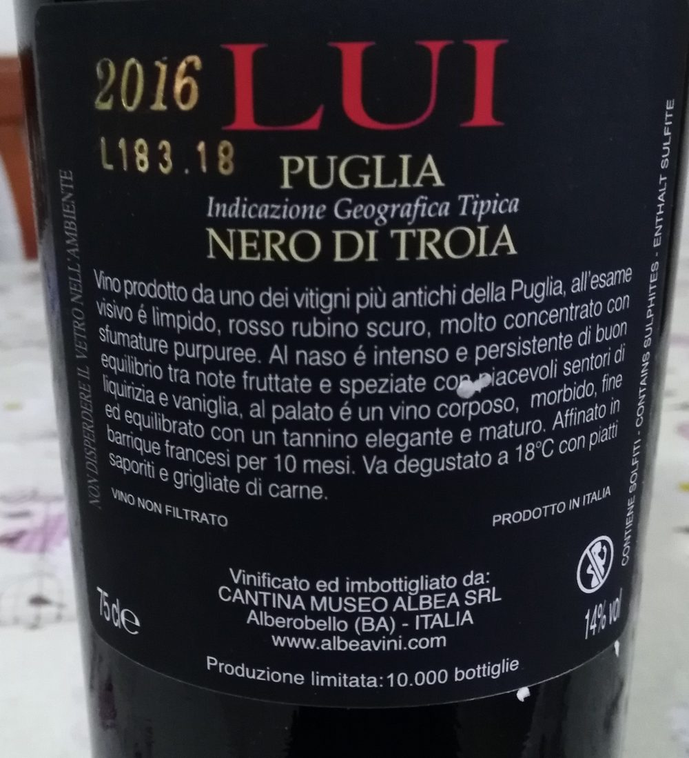 Controetichetta Lui Nero di Troia Puglia Igt 2016 Cantina Albea