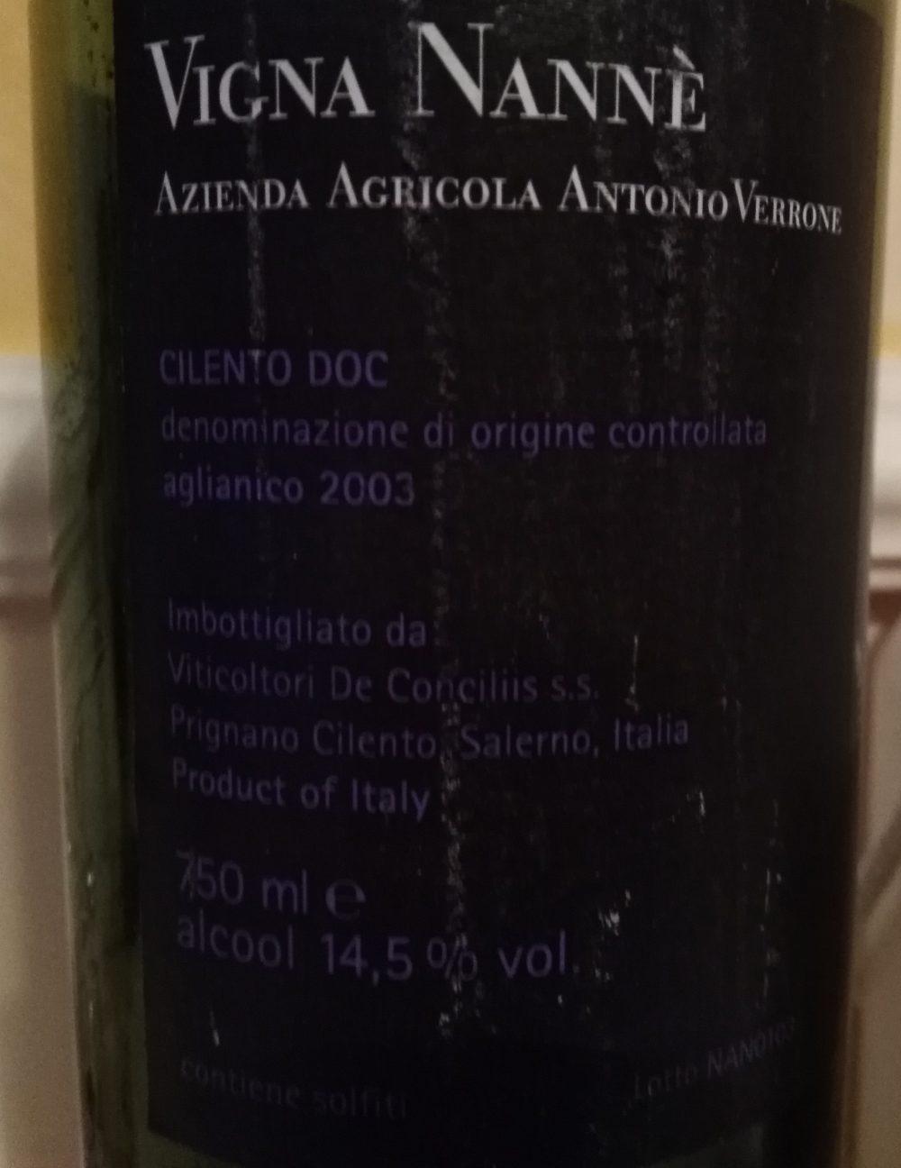 Controetichetta Vigna Nanne' Aglianico Cilento Doc 2003 Antonio Verrone Viticoltore