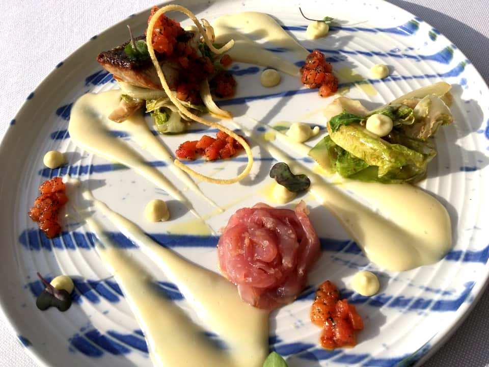Blu Stone - Crudo & Cotto di Ricciola, scaroletta semicruda ed inconsistenza di spaghetto aglio e olio