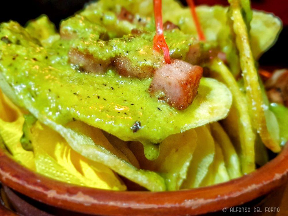 Pub27, Chips con crema di pistacchi e mortadella