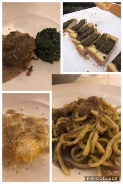 Il maiale al tartufo, la bruschetta, gli strengozzi e il classico uovo al tartufo