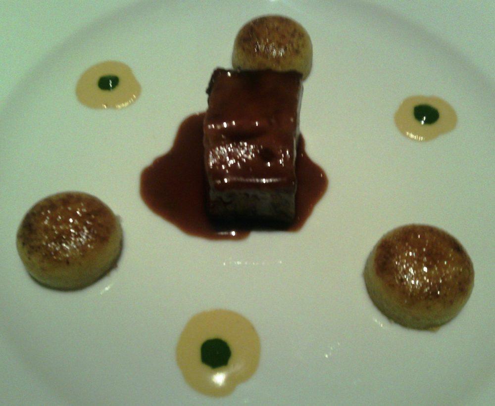 Tordomatto, Testaccio - stracotto di vitella ai funghi, il suo fondo, parfait di funghi caramellato, maionese di porcini