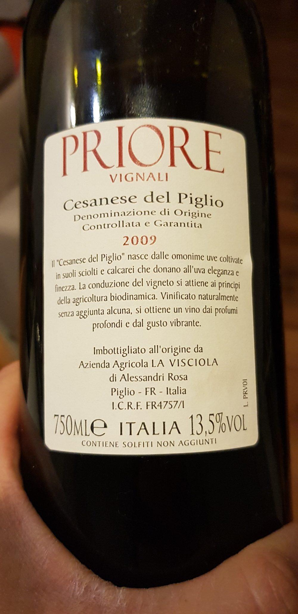La Visciola - Cesanese del Piglio Priore Vignali 2009