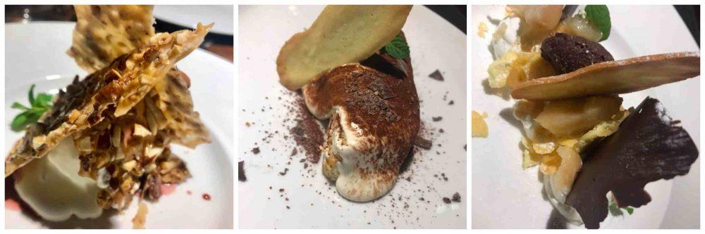 Punto Nave, dessert al pistacchio, tiramisu', ricotta e pera scomposta