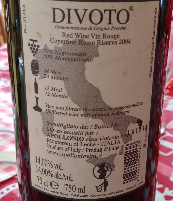 Controetichetta Divoto Copertino Rosso Riserva Dop 2004 Apollonio