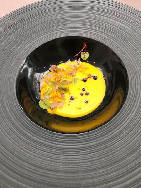 Don Carlos - Vellutata di zucca, tartare di ombrina, misticanza dell'orto e aceto balsamico di Modena