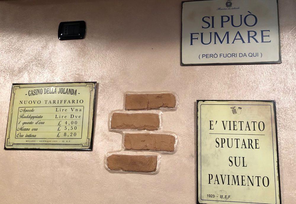 Osteria Oss Bus, i prezzi in lire da un'altra carta delle vivande