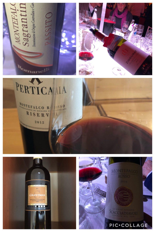 Alcune etichette delle aziende aderenti al Consorzio Tutela Vini Montefalco