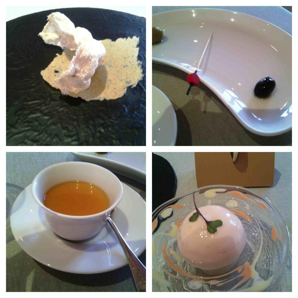 Piazza Duomo, aperitivo all'italiana- sfera di spuma al gingerino, ostia di arachidi crema al foie gras - creme caramel al miso - finta oliva con tartare di gamberi e tartare di vitello - sfoglie croccanti