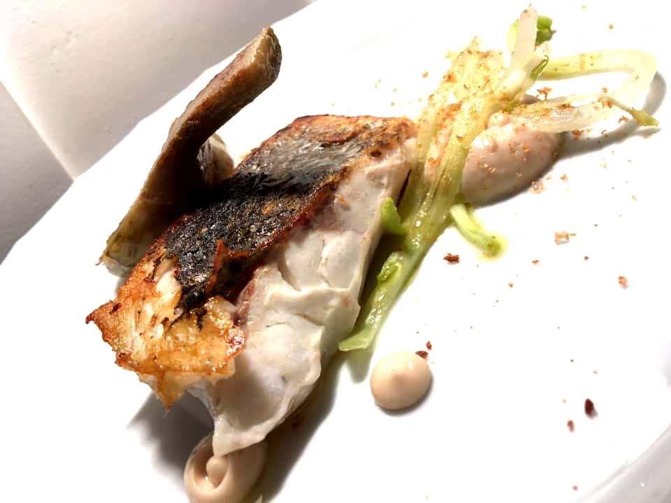 Veritas Restaurant - Pescato del giorno con carciofo, puntarelle e maionese di bottarga di merluzzo