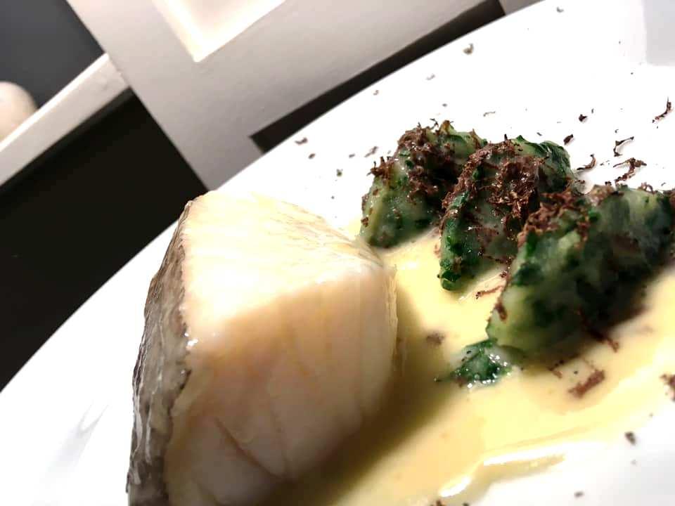 Veritas Restaurant - Baccalà con Tartufo Nero, Rape e Patate