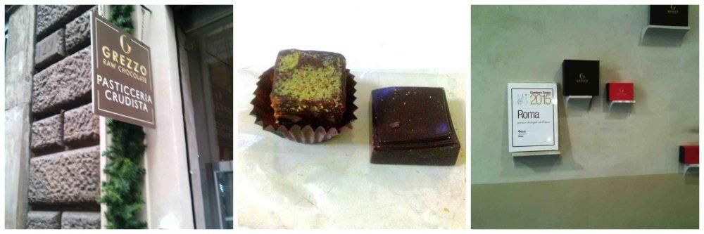 Grezzo - L'entrata - L'interno - Brownie pistacchio e arancia crudista, cioccolato crudo