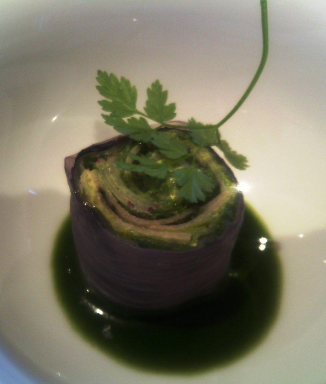 Piazza Duomo, espressione vegetale- capunet di radicchio, salsa verde