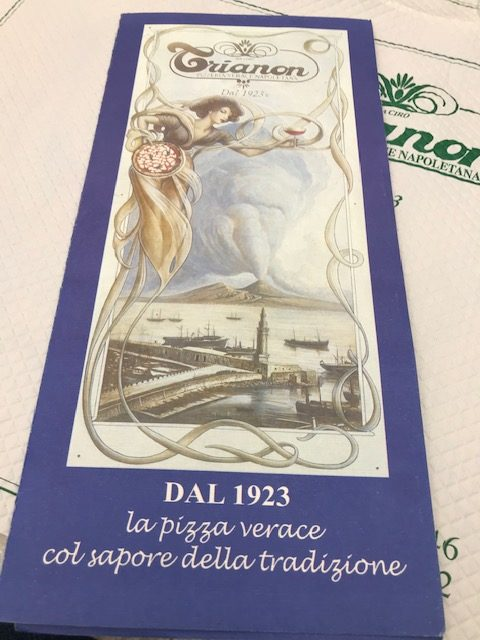 Pizzeria Trianon 1923 - menu'