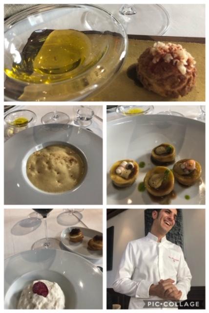 Suppli' scomposto, zuppa di ceci, ravioli ripieni di polpo, dessert al litchis con petalo di rosa. Lo chef Ciro Scamardella