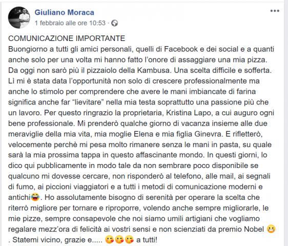 L'annuncio di Giuliano Moraca