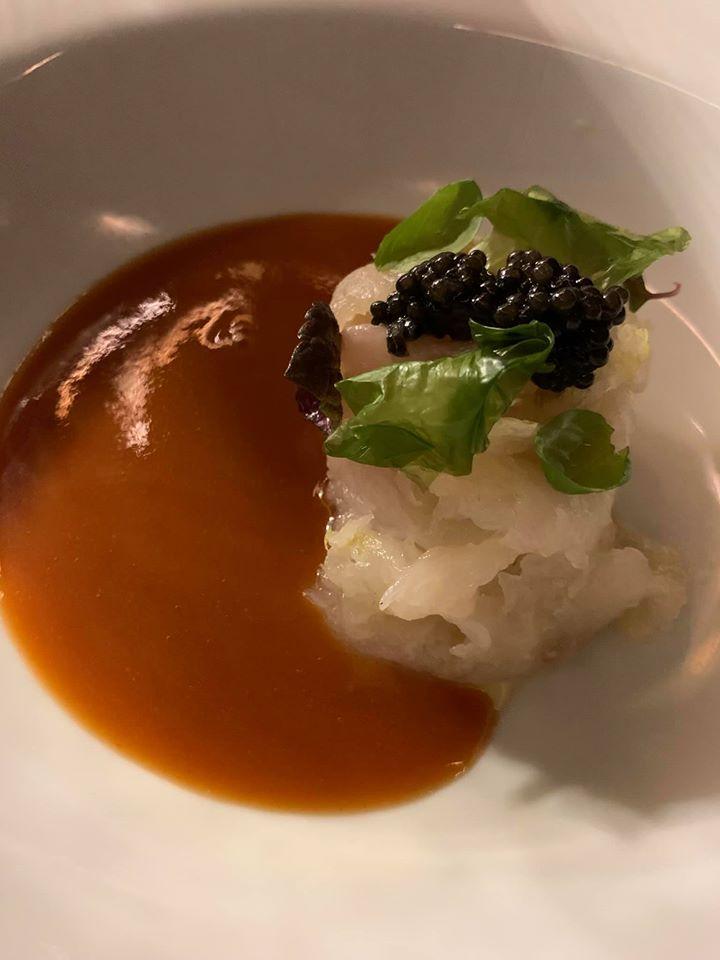 Caracol, Spaghettino freddo su sashimi di orata e salsa all'acqua pazza