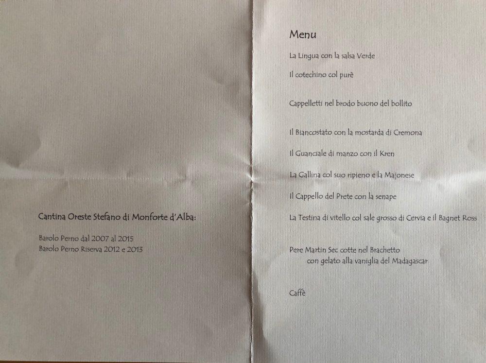 7 tagli di bollito, 7 salse, 7 Barolo Perno di Oreste Stefano