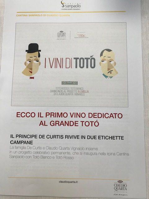 Cantina Sanpaolo - presentazione vini di Toto'