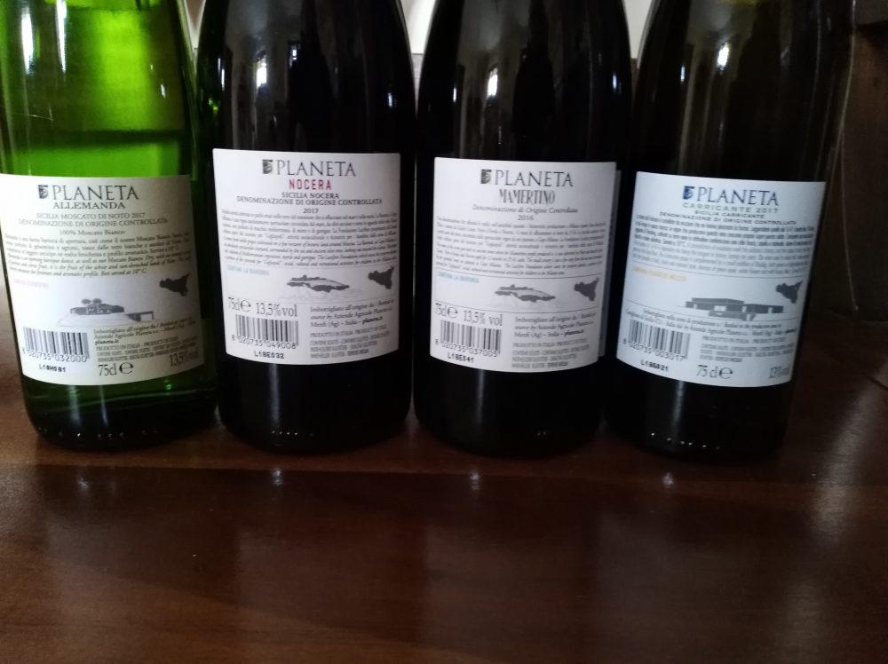 Controetichette vini di Planeta