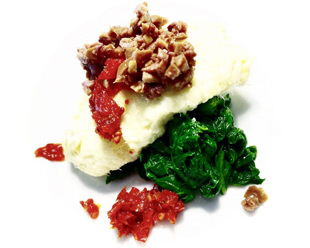 Veritas Restaurant, Baccala' Mantecato, Pomodoro Semi-Dry Homemade, Friarielli e Tapenade di Olive