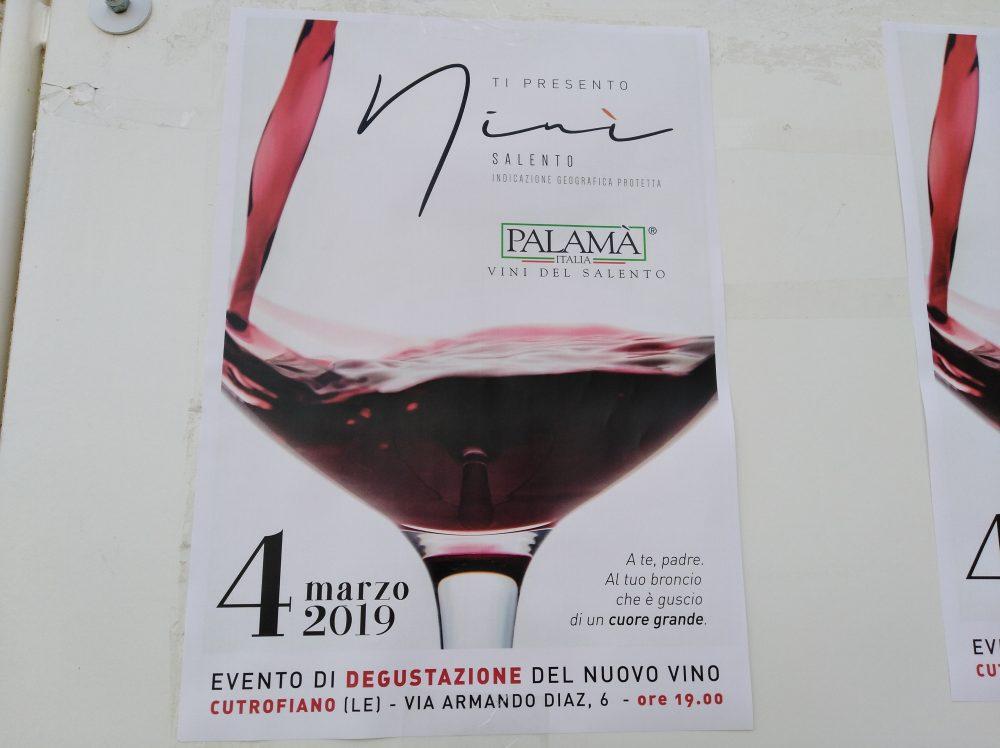 Locandina della presentazione dei nuovi vini di Palama'