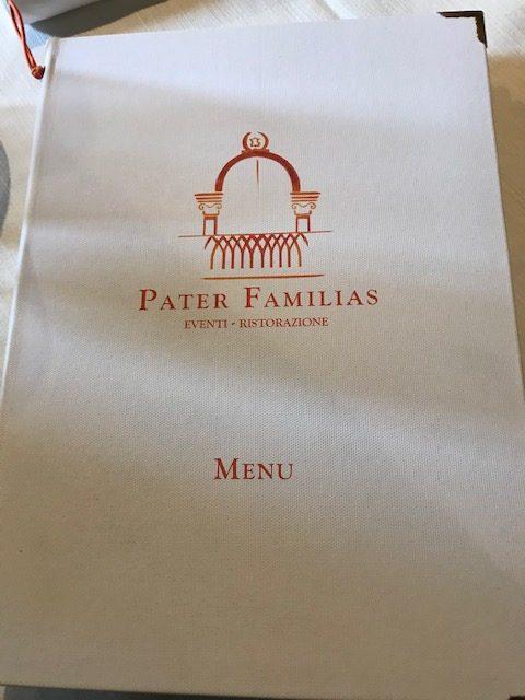 Ristorante Pater Familias - Menu'