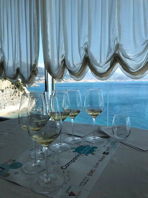 Degustazione di vini bianchi campani all'Hotel Cetus sulla Costiera Amalfitana