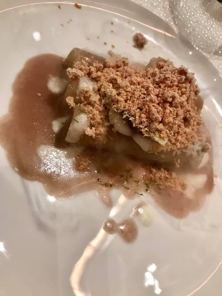 Francesco Apreda, Idylio. Ziti al cipollotto rosso, sgombro e foie gras