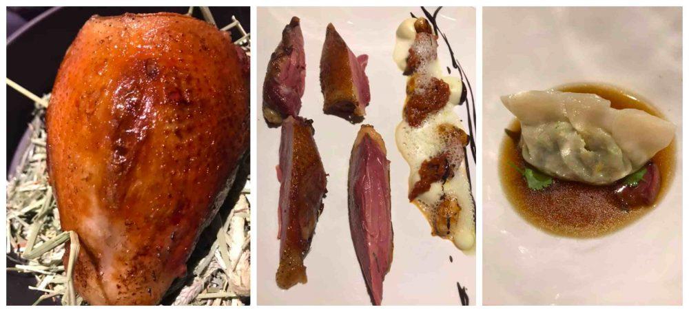 Il Faro Di Capo D'orso Il Piccione in due servizi - primo servizio. Petto, nespole fermentate e cioccolato - secondo servizio, dim sum con cuore mrinato, coscia e brodo di piccione