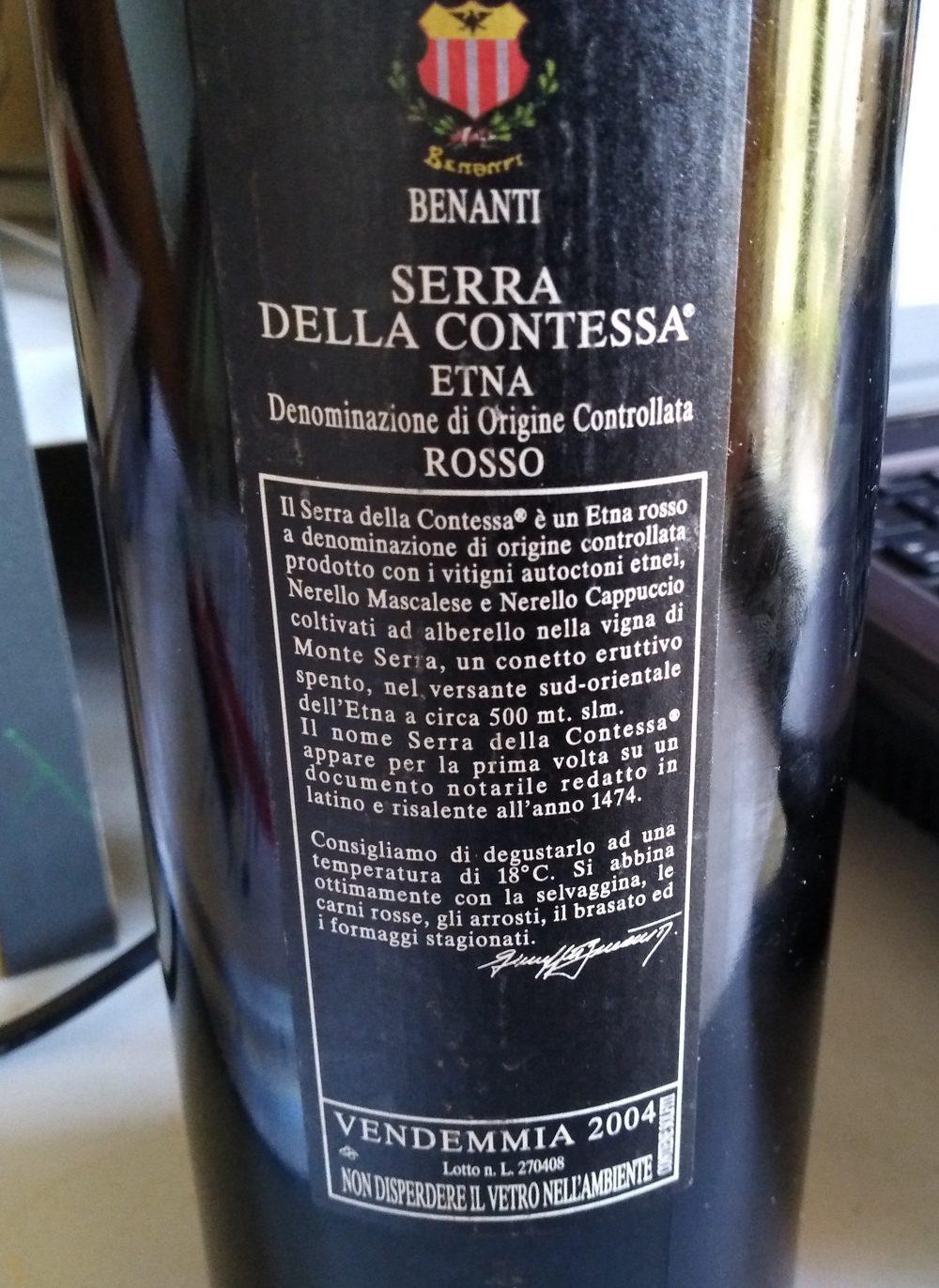 Controetichetta Serra della Contessa Etna Rosso Doc 2004 Vinicola Benanti