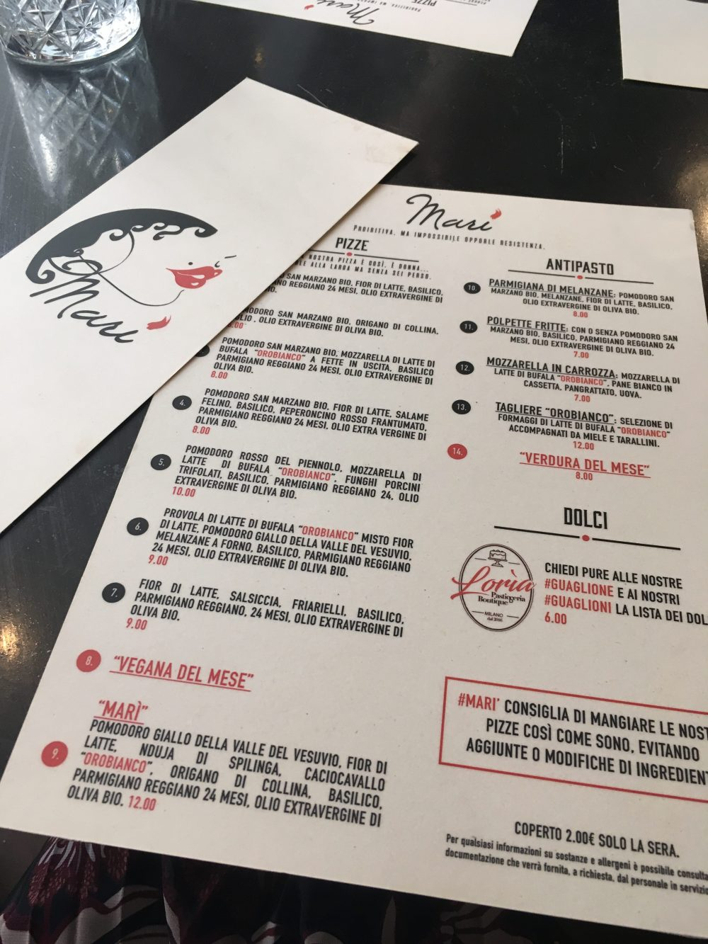Pizzeria Mari', menu'