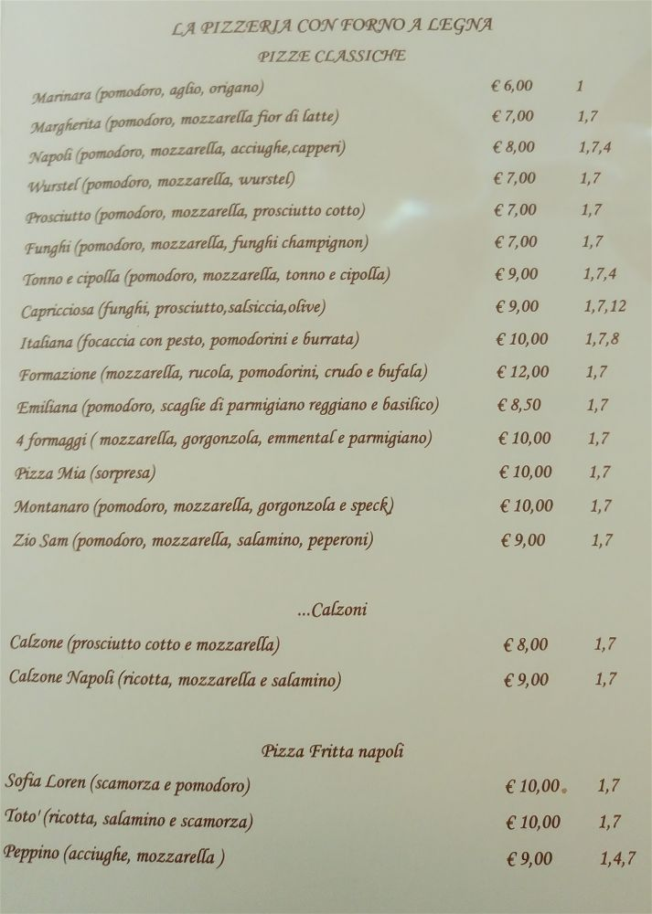 Lab pizzeria Scandicci Enzino - menu'