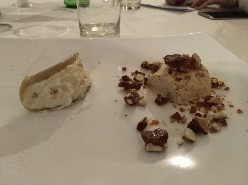 Ristorante La Piazza Pasta di mandorle, ricotta e arancia candita e semifreddo con cupeta croccante alla mandorle
