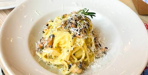 Spaghetti cacio, pepe e cozze - Pescaria