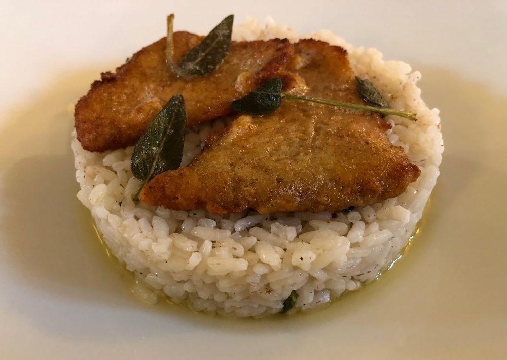 Riso in cagnone con filetti di pesce persico