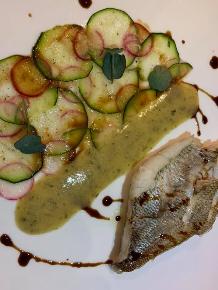 Ristorante Alessandro Feo - Pezzogna, carpaccio di zucchine e ravanelli con salsa di zucchine alla scapece