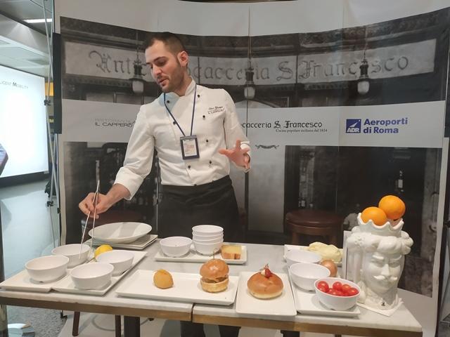 Antica Focacceria San Francesco - Lo chef durante il cooking show