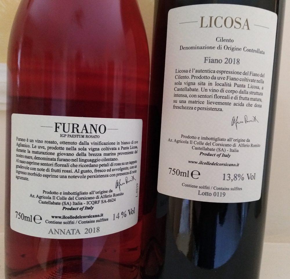 Controetichette vini Colle di Corsicano