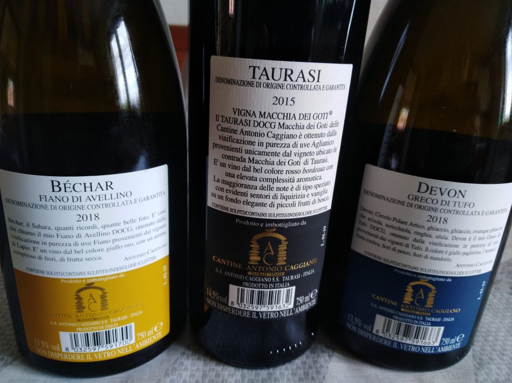 Controetichette vini di Antonio Caggiano