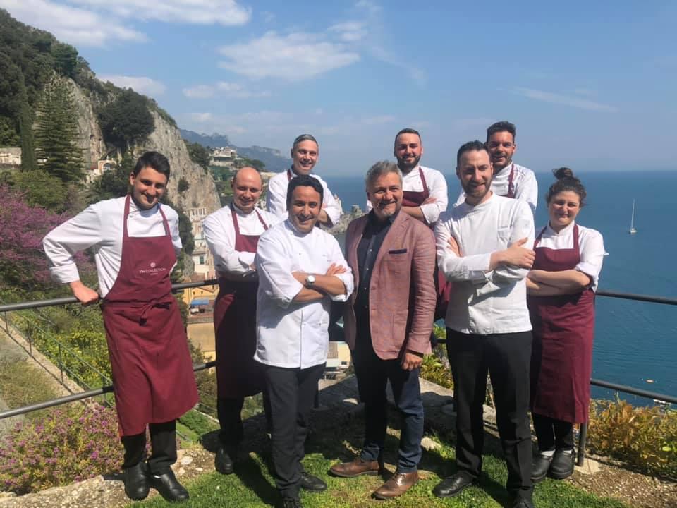 NH Collection Grand Hotel Convento di Amalfi, Giacomo Sranataro con Natale giunta e la brigata di cucina