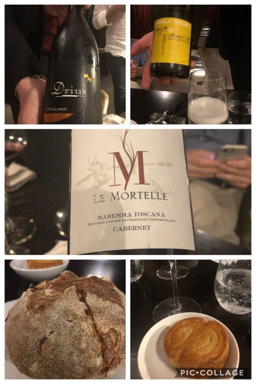I vini e il pane in abbinamento ai piatti proposti